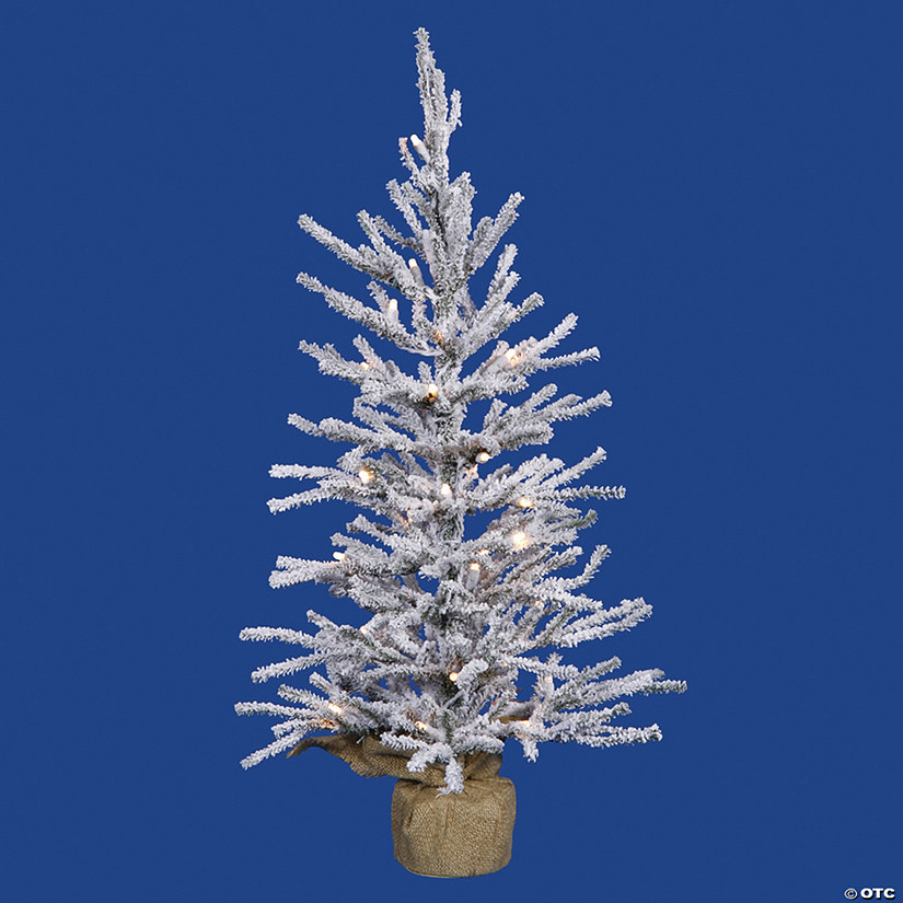 "Vickerman 24"" Flocked Angel Pine Christmas Tree with Warm White LED Lights Image Thumbnail"