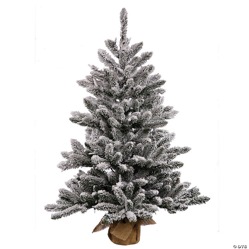 "Vickerman 24"" Flocked Anoka Pine Christmas Tree with Clear Lights Image Thumbnail"