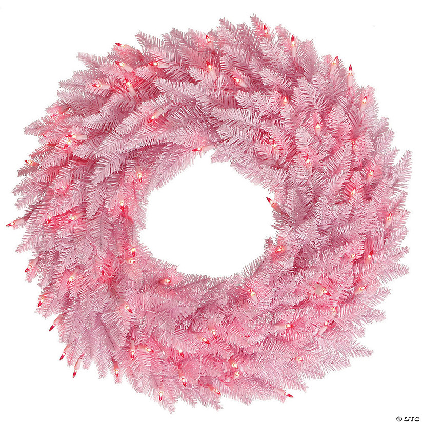 "Vickerman 24"" Light Pink Fir Christmas Wreath with Pink LED Lights Image Thumbnail"