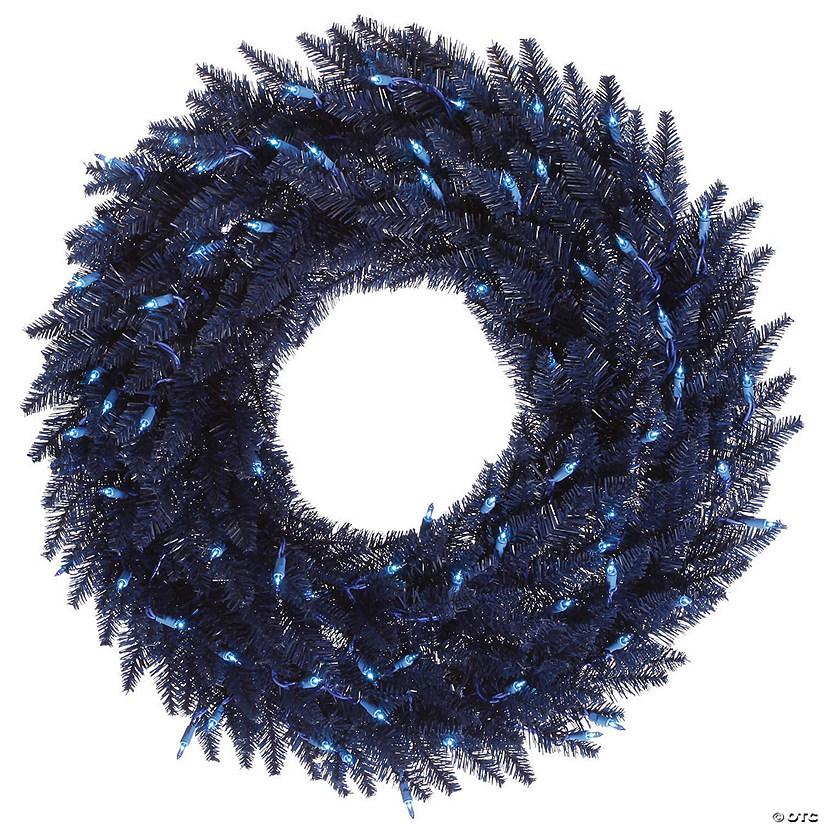 "Vickerman 24"" Navy Blue Fir Christmas Wreath with Blue Lights Image Thumbnail"