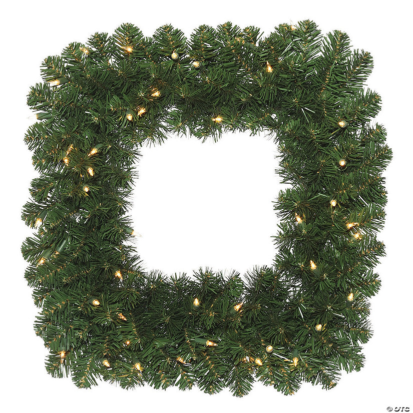 "Vickerman 24"" Oregon Fir Christmas Square Wreath with Clear Lights Image Thumbnail"