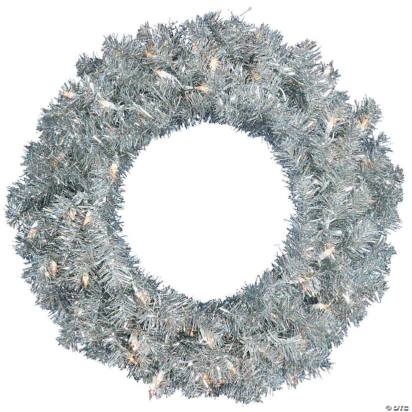 "Vickerman 24"" Silver Christmas Wreath with Silver Lights Image Thumbnail"