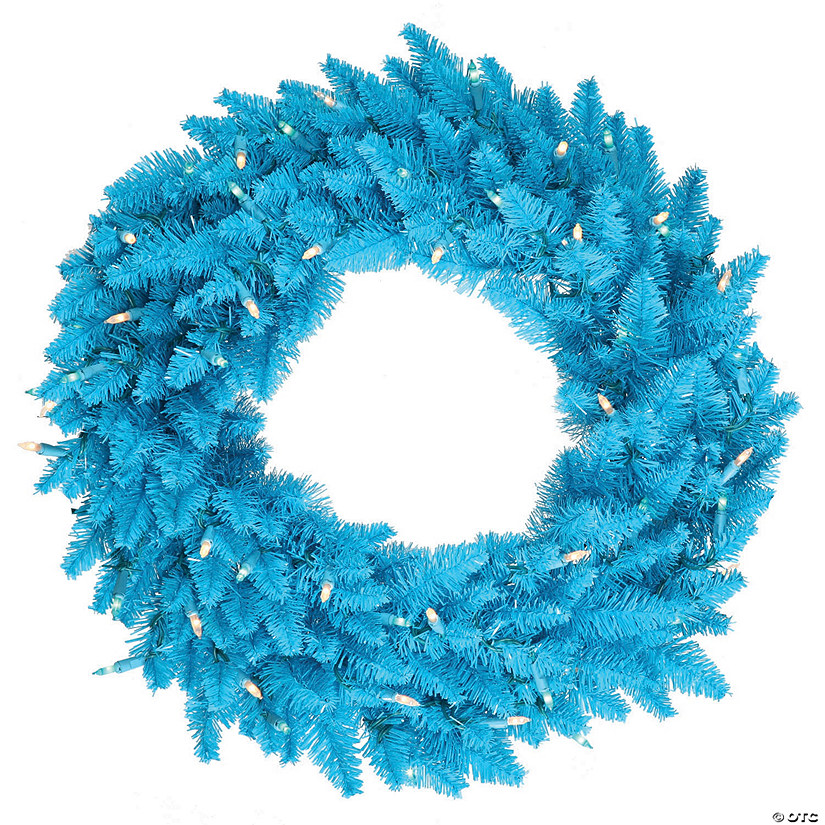 "Vickerman 24"" Sky Blue Fir Wreath - Unlit Image Thumbnail"