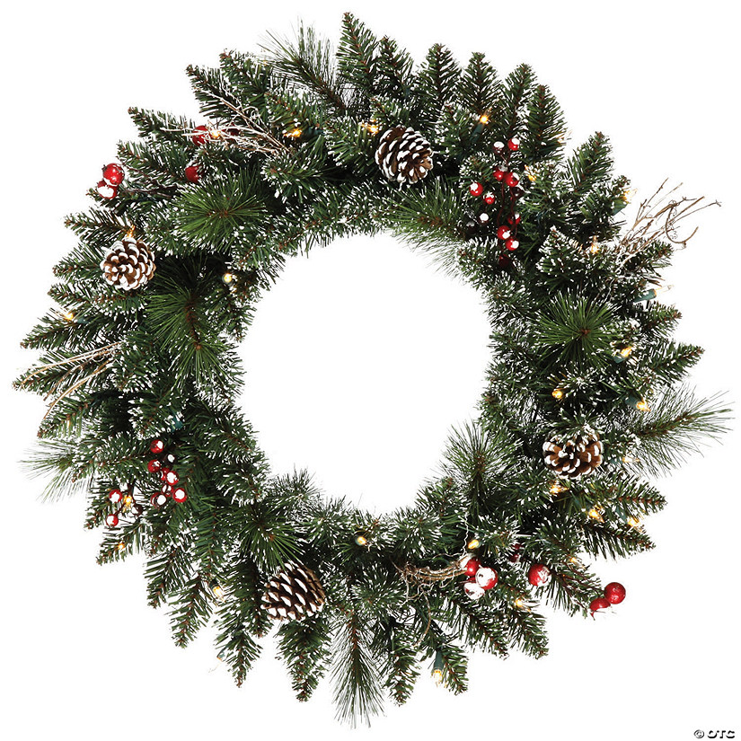 "Vickerman 24"" Snow Tipped Pine and Berry Christmas Wreath with Clear Lights Audio Thumbnail"