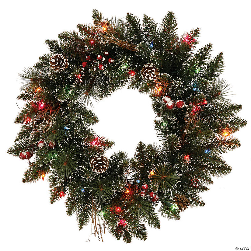 "Vickerman 24"" Snow Tipped Pine and Berry Christmas Wreath with Multi-Colored Lights Image Thumbnail"
