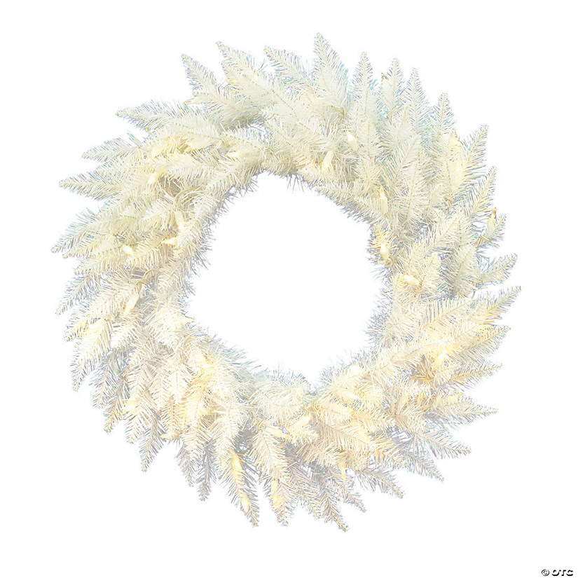 "Vickerman 24"" Sparkle White Spruce Christmas Wreath with Warm White Lights Image Thumbnail"