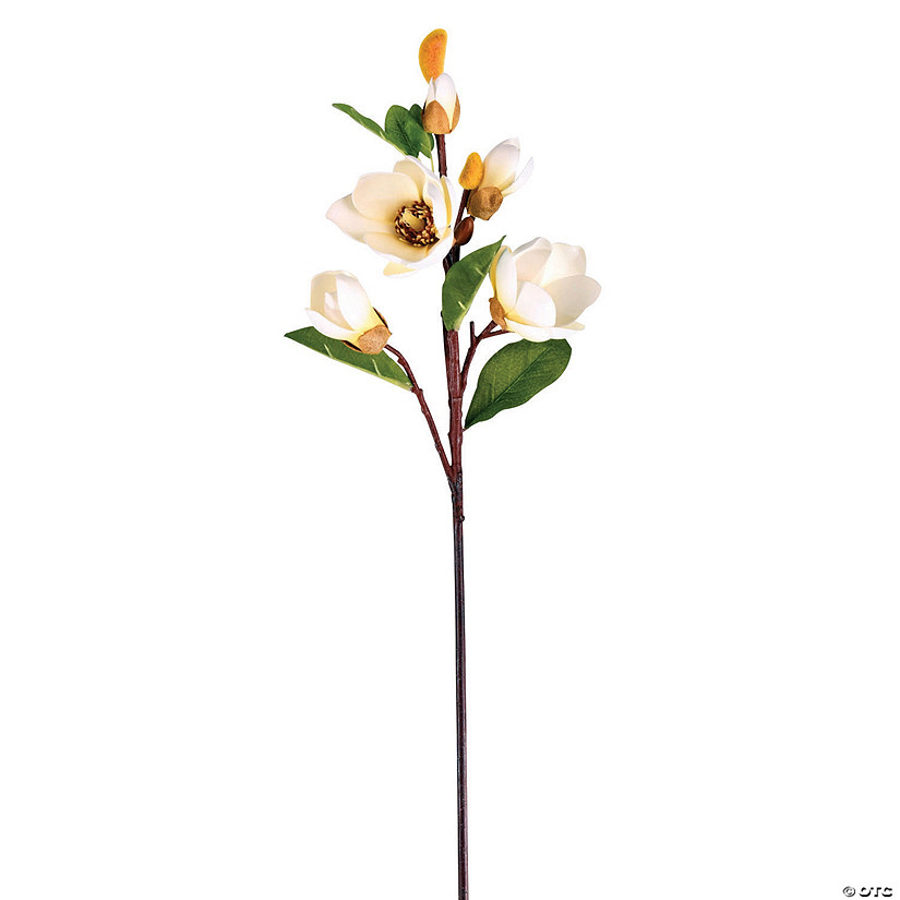 "Vickerman 28"" Artificial White Magnolia Stem - 3/pk Audio Thumbnail"