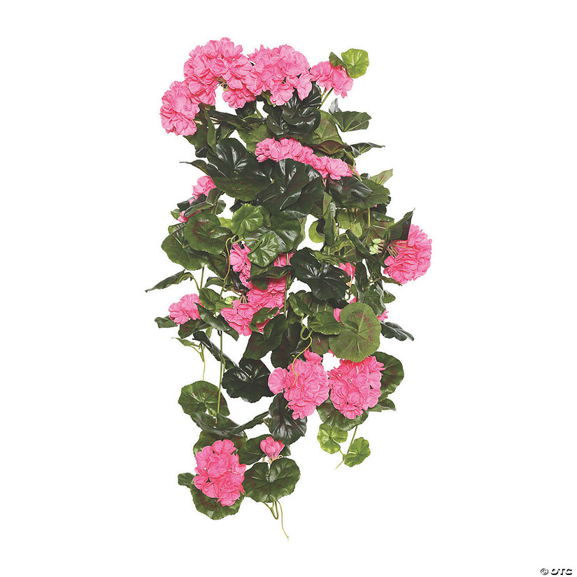 "Vickerman 29"" Pink Polyester Geranium Hanging Bush Audio Thumbnail"