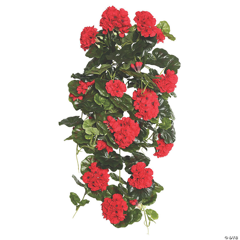 "Vickerman 29"" Red Polyester Geranium Hanging Bush Audio Thumbnail"