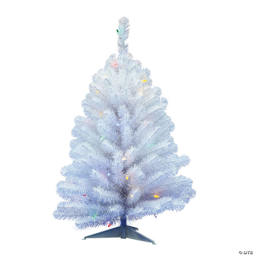 Vickerman 3' Crystal White Spruce Christmas Tree with Multi-Colored LED Lights Image Thumbnail