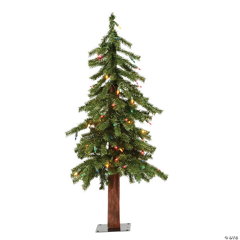 Vickerman 3' Natural Alpine Christmas Tree with Multi-Colored Lights Image Thumbnail