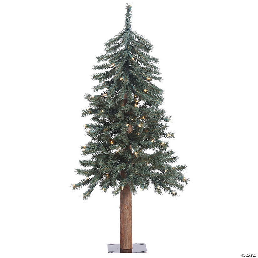 Vickerman 3' Natural Bark Alpine Christmas Tree with Warm White LED Lights Image Thumbnail