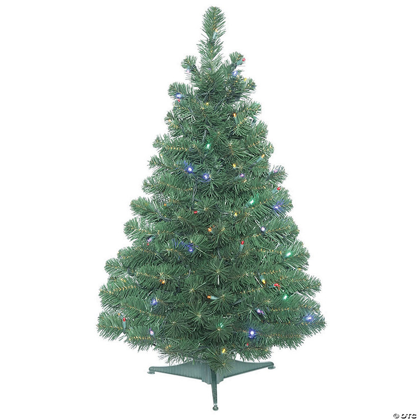 Vickerman 3' Oregon Fir Christmas Tree with Multi-Colored LED Lights Image Thumbnail