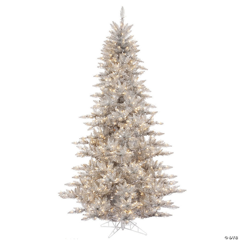 Vickerman 3' Silver Tinsel Fir Christmas Tree with Clear Lights Image Thumbnail