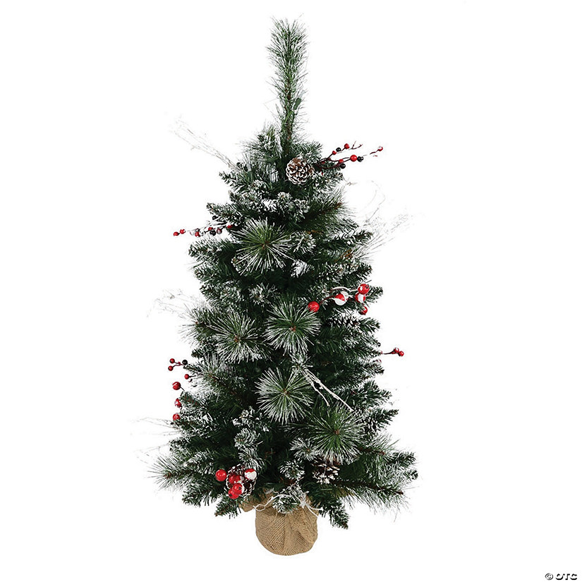 Vickerman 3' Snow Tipped Pine and Berry Artificial Christmas Tree Unlit Image Thumbnail