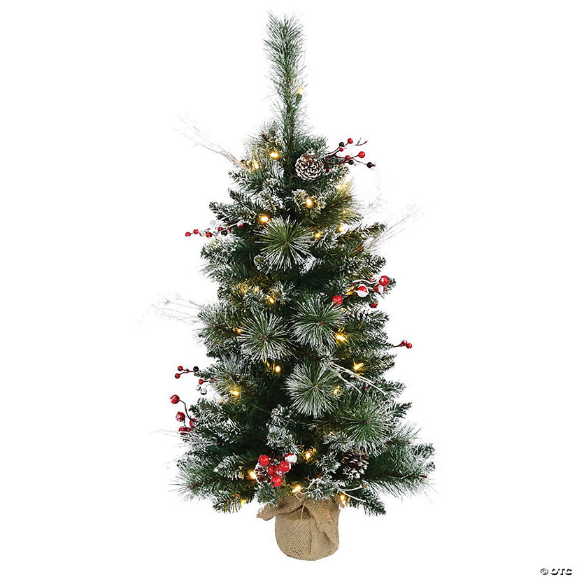 Vickerman 3' Snow Tipped Pine and Berry Christmas Tree with Warm White LED Lights Image Thumbnail
