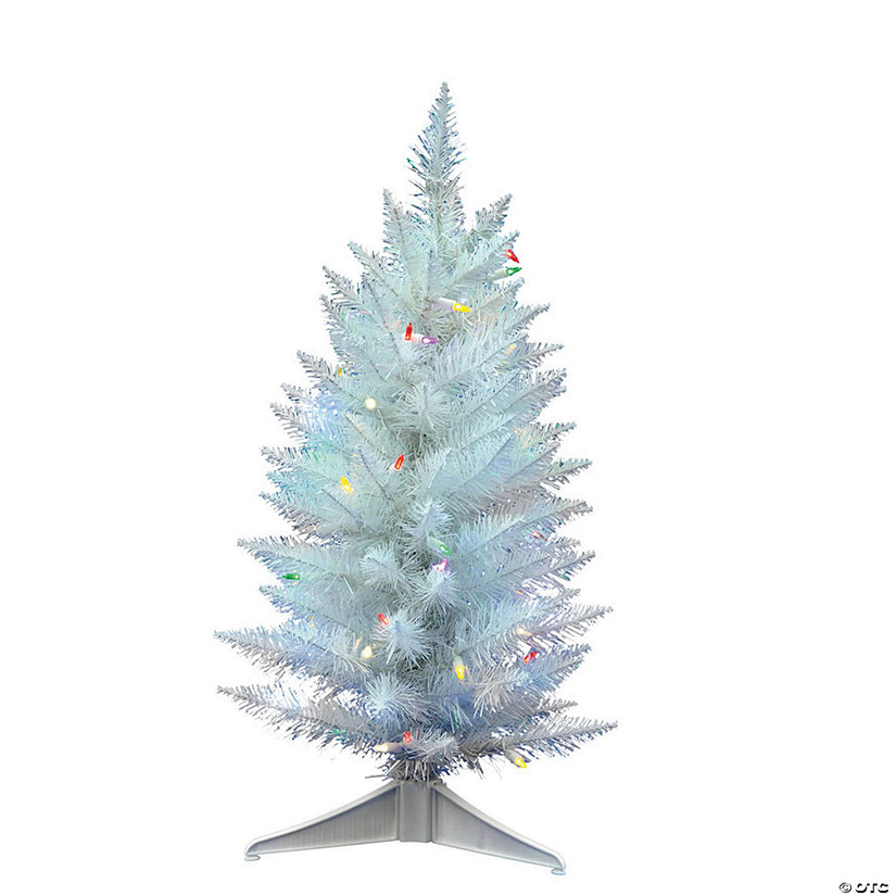 "Vickerman 30"" Sparkle White Spruce Pencil Christmas Tree with Multi-Colored LED Lights Audio Thumbnail"