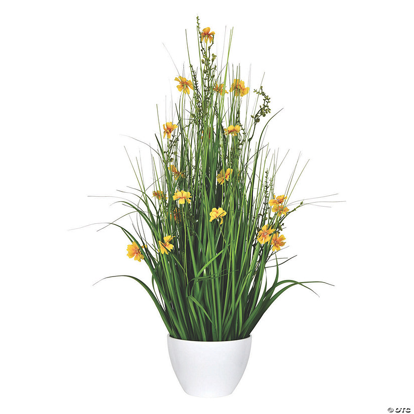 "Vickerman 31"" Potted Yellow Cosmos and Green Grass Audio Thumbnail"