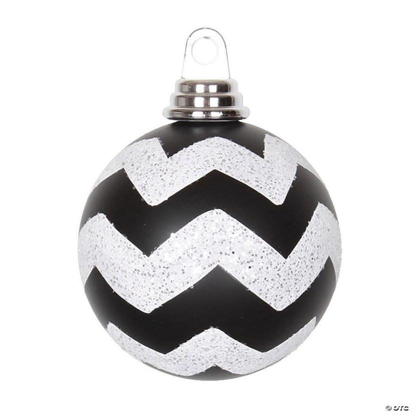 "Vickerman 4"" Black-White Matte/Glitter Chevron Ball Christmas Ornament - 4/Box   Oriental Trading"