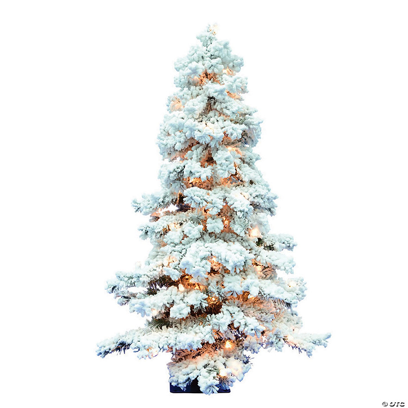 Vickerman 4' Flocked Spruce Christmas Tree with Clear Lights Image Thumbnail