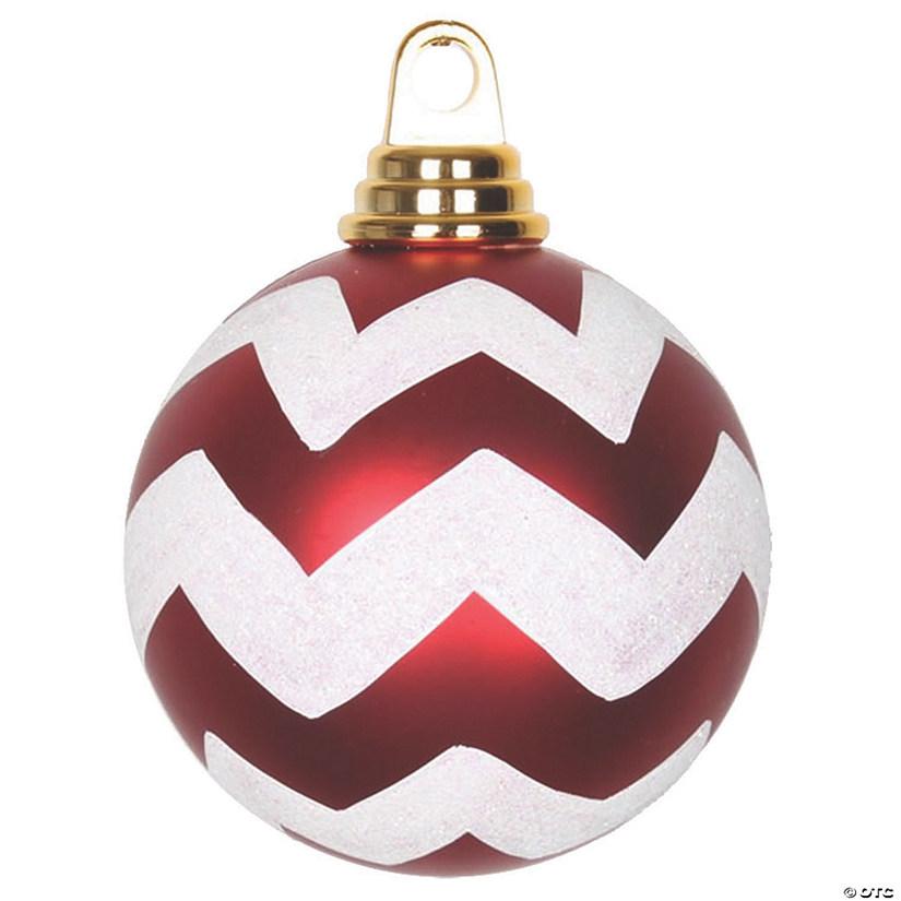 "Vickerman 4"" Red-White Matte/Glitter Chevron Ball Christmas Ornament - 4/Box   Oriental Trading"