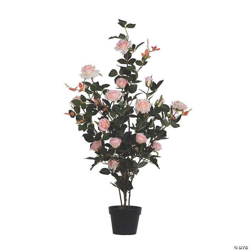"Vickerman 45"" Artificial Pink Rose Plant in Pot Audio Thumbnail"