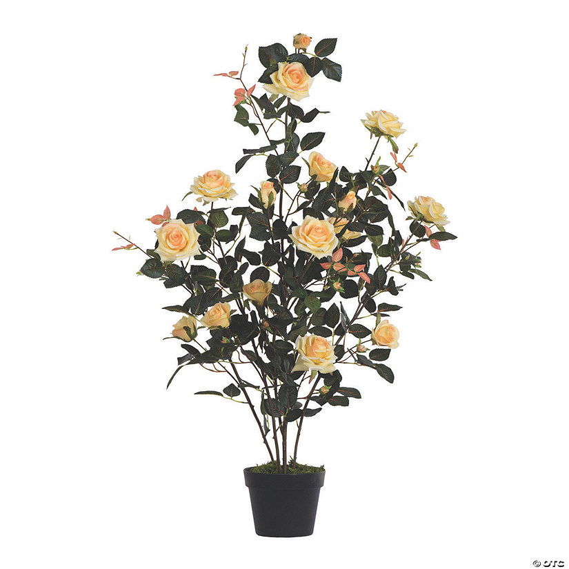 "Vickerman 45"" Artificial Yellow Rose Plant in Pot Audio Thumbnail"