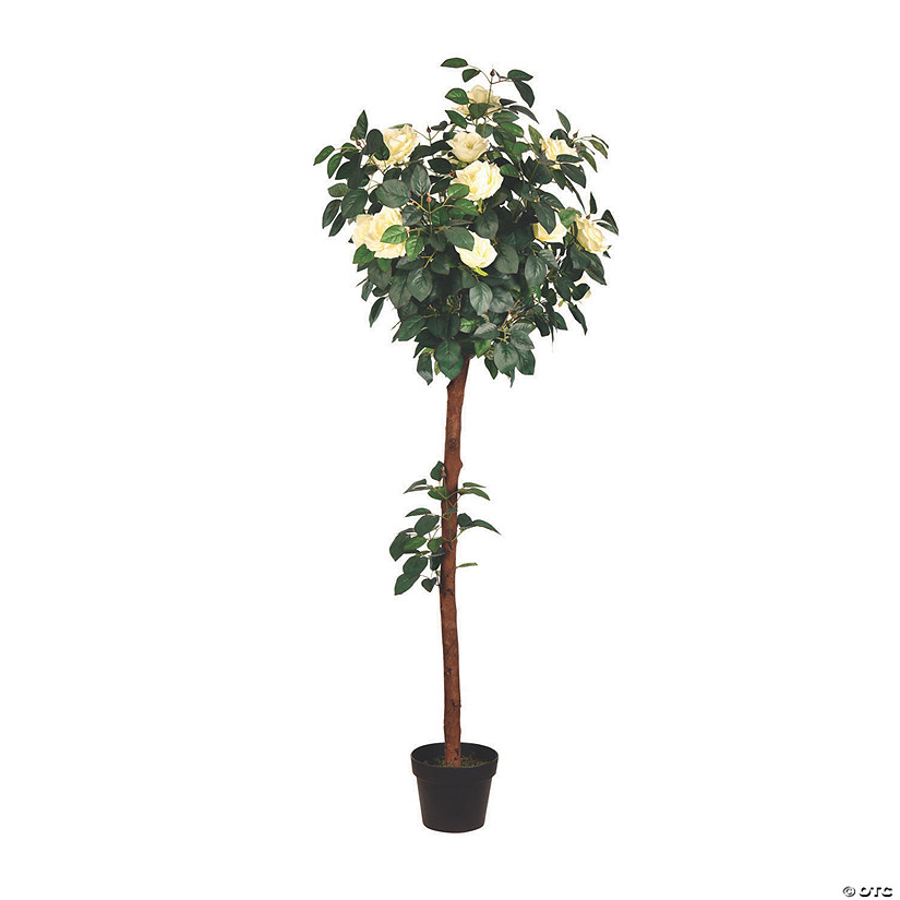 Vickerman 5' Artificial Potted White Rose Tree Audio Thumbnail