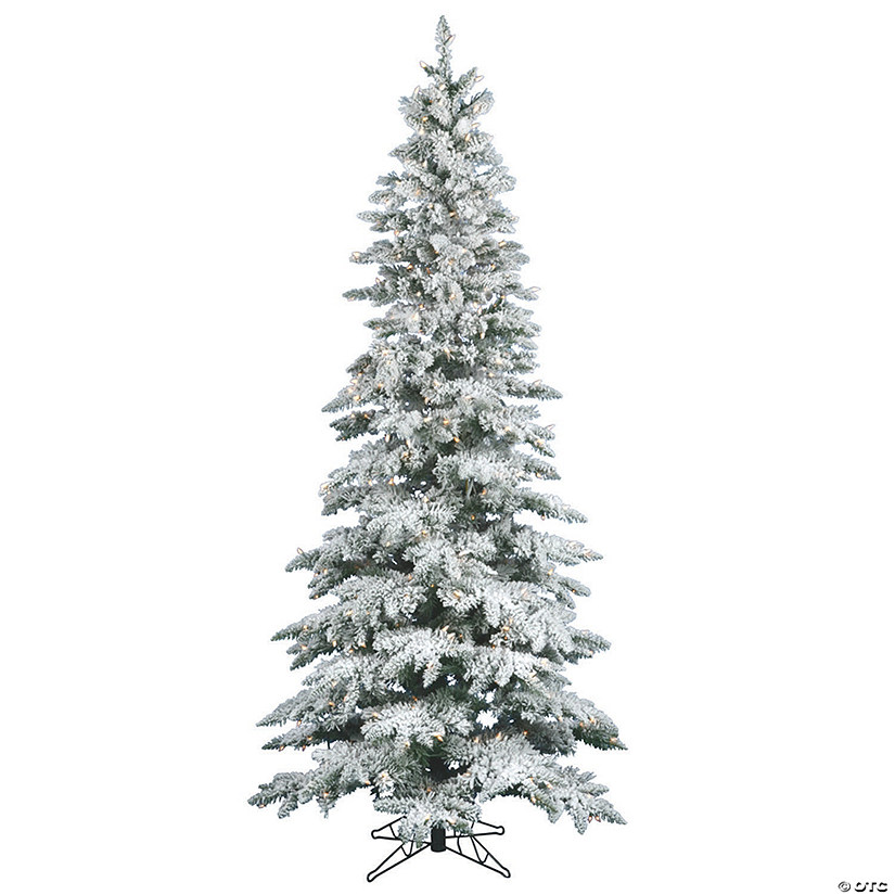 Vickerman 6.5' Flocked Utica Fir Slim Christmas Tree with Clear Lights Audio Thumbnail