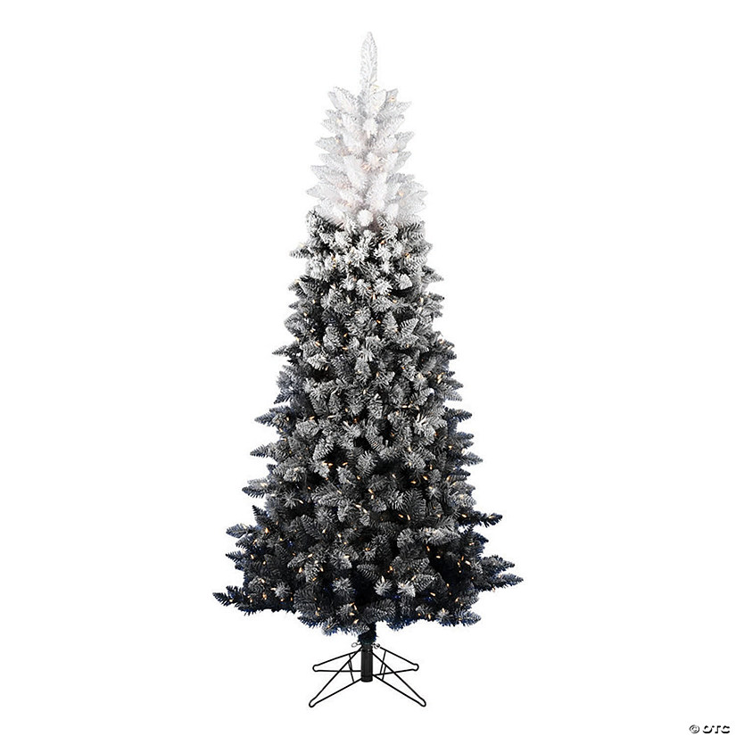 "Vickerman 6.5' x 28"" Frosted Black-White Ombre Christmas Tree with Warm White LED Lights Image Thumbnail"