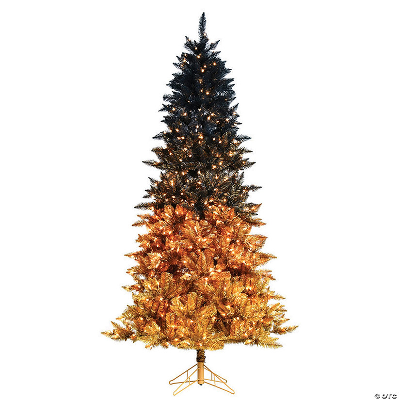 "Vickerman 6.5' x 42"" Black Gold Christmas Tree with Clear Lights Image Thumbnail"