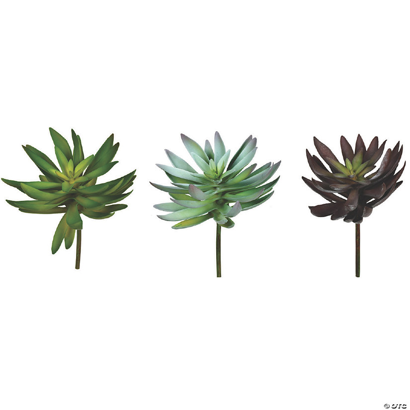 "Vickerman 6"" Assorted Succulent Picks - 3/pk Audio Thumbnail"