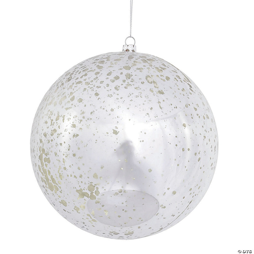 "Vickerman 6"" Silver Shiny Mercury Ball Christmas Ornament - 4/Bag Audio Thumbnail"
