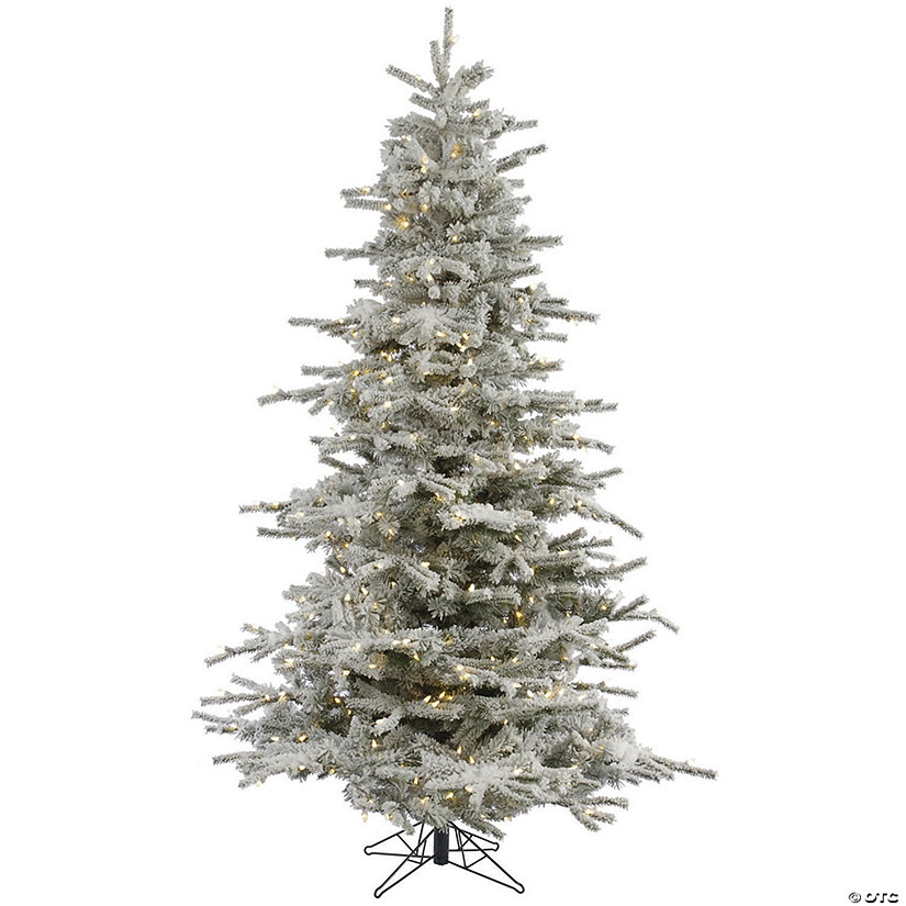 Vickerman 7.5' Flocked Sierra Fir Christmas Tree with Warm White LED Lights Audio Thumbnail