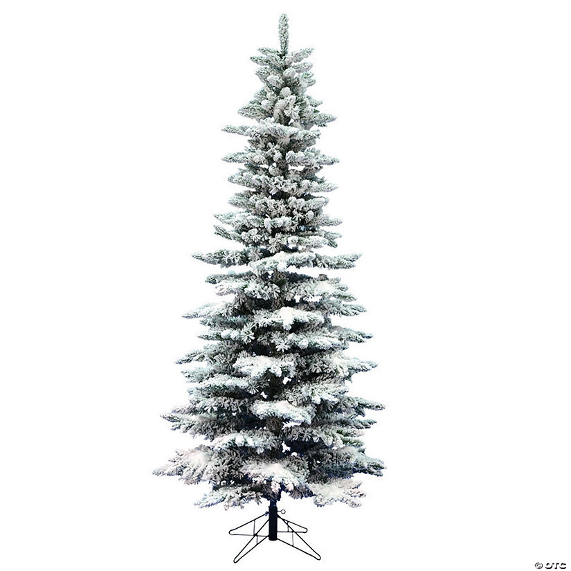 Vickerman 7.5' Flocked Utica Fir Slim Christmas Tree -Unlit Audio Thumbnail