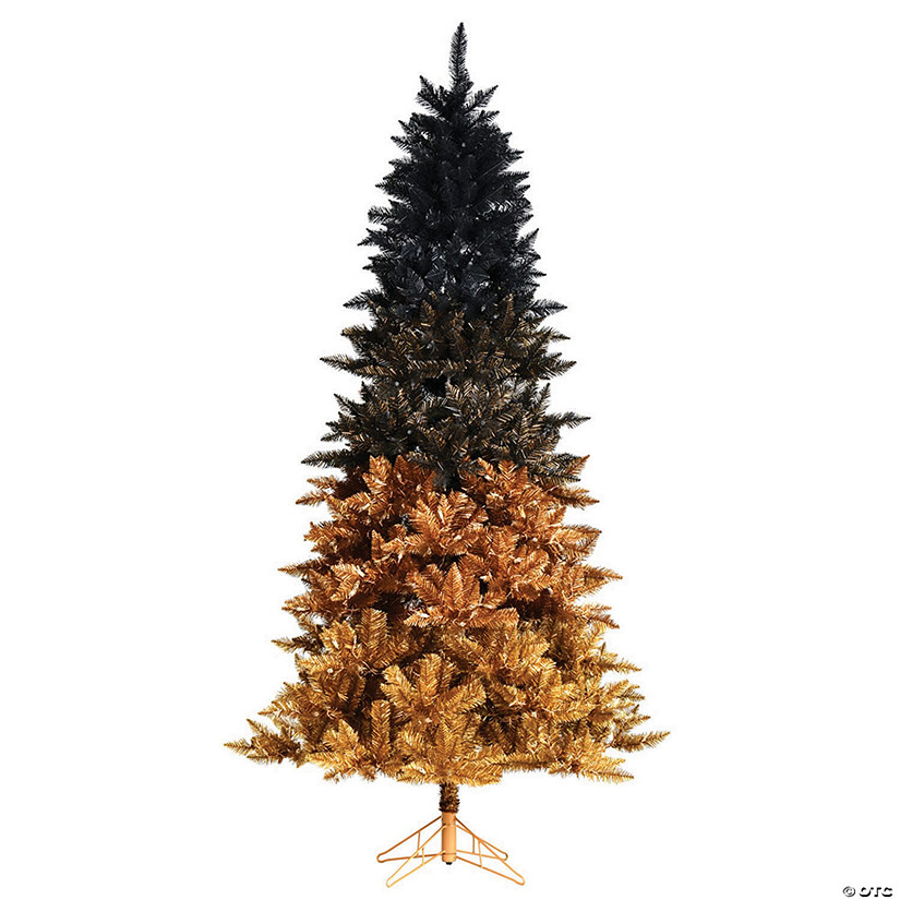 "Black Artificial Christmas Trees: Vickerman 7.5' X 48"" Black Gold Ombre Christmas Tree"