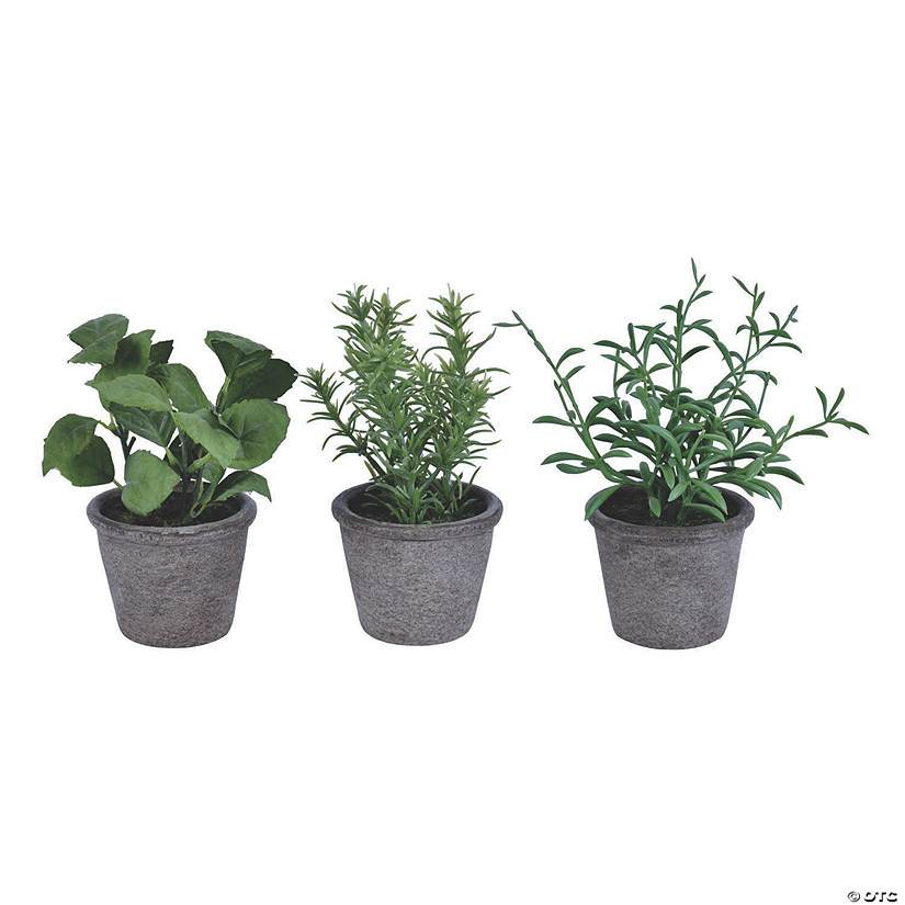 "Vickerman 7"" Green Potted Plant Assortment - Set of 3 Audio Thumbnail"