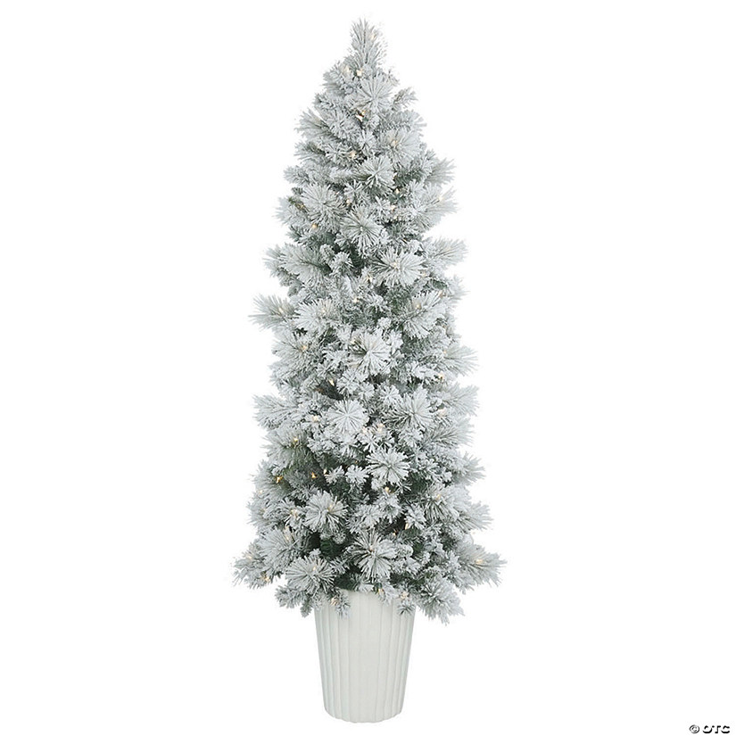 Potted Christmas Tree.Vickerman 7 Potted Flocked Castle Pine Christmas Tree With Warm White Led Lights