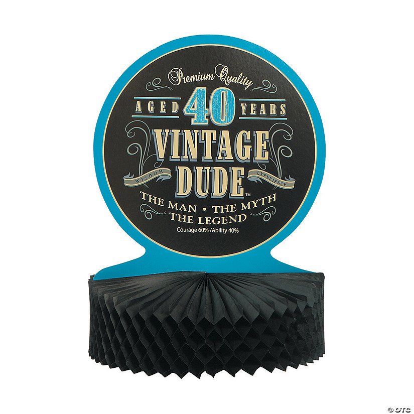 Vintage Dude 40th Birthday Centerpiece