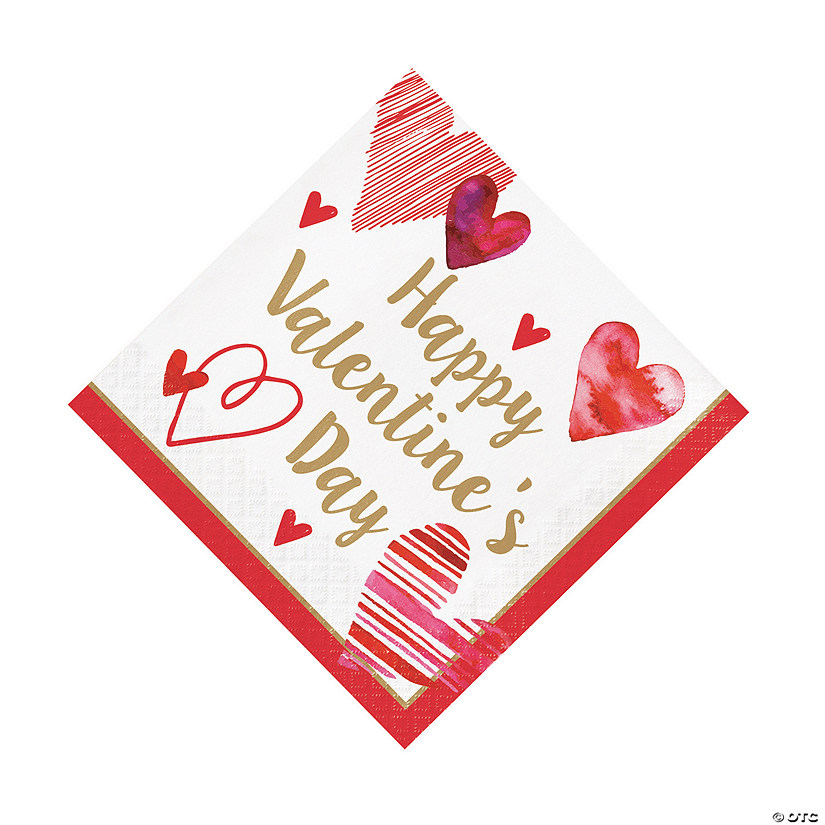Watercolor Hearts Valentine Luncheon Napkins Audio Thumbnail