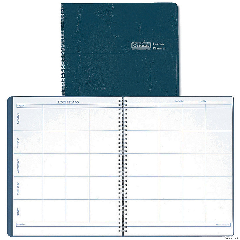 weekly lesson planner simulated leather cover blue set of 3 planners