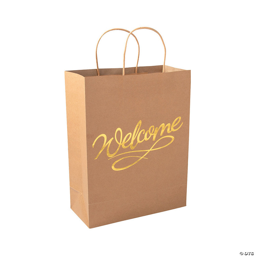 Welcome Kraft Paper Gift Bags with Gold Foil Audio Thumbnail