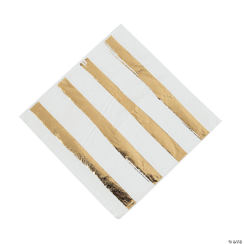 White & Gold Foil Striped Luncheon Paper Napkins Audio Thumbnail