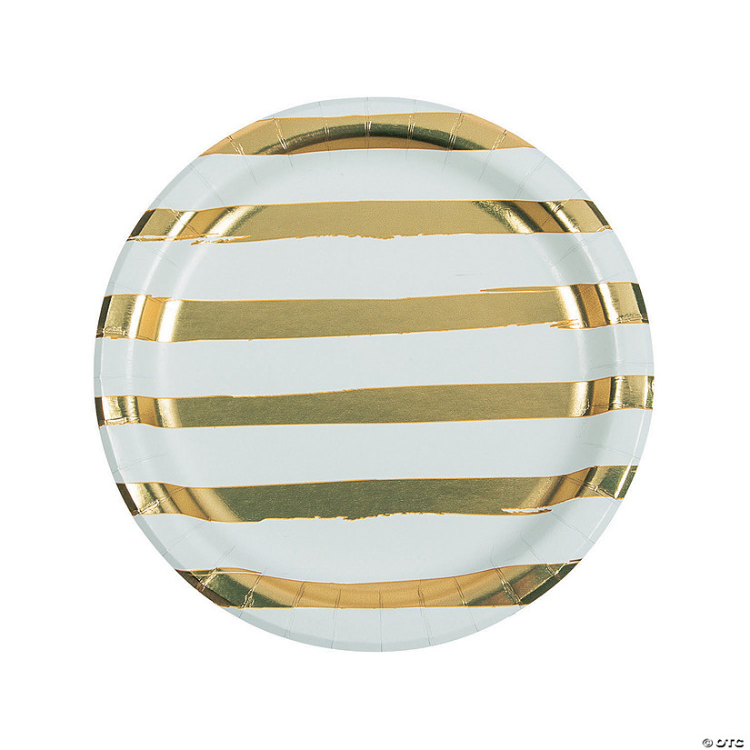 White & Gold Foil Striped Paper Dinner Plates Audio Thumbnail