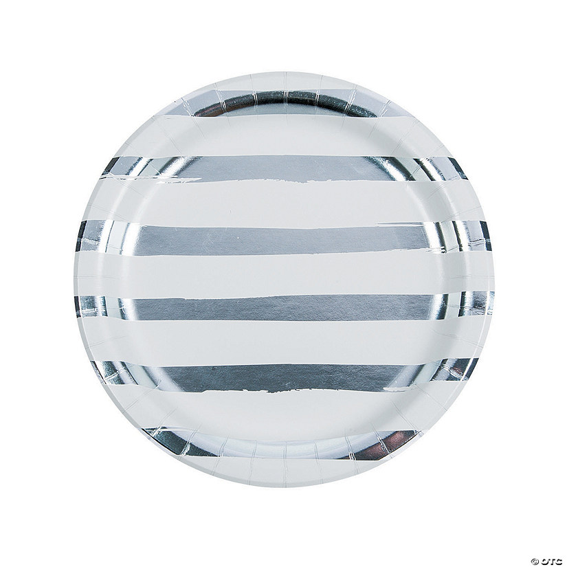 White & Silver Foil Striped Paper Dinner Plates