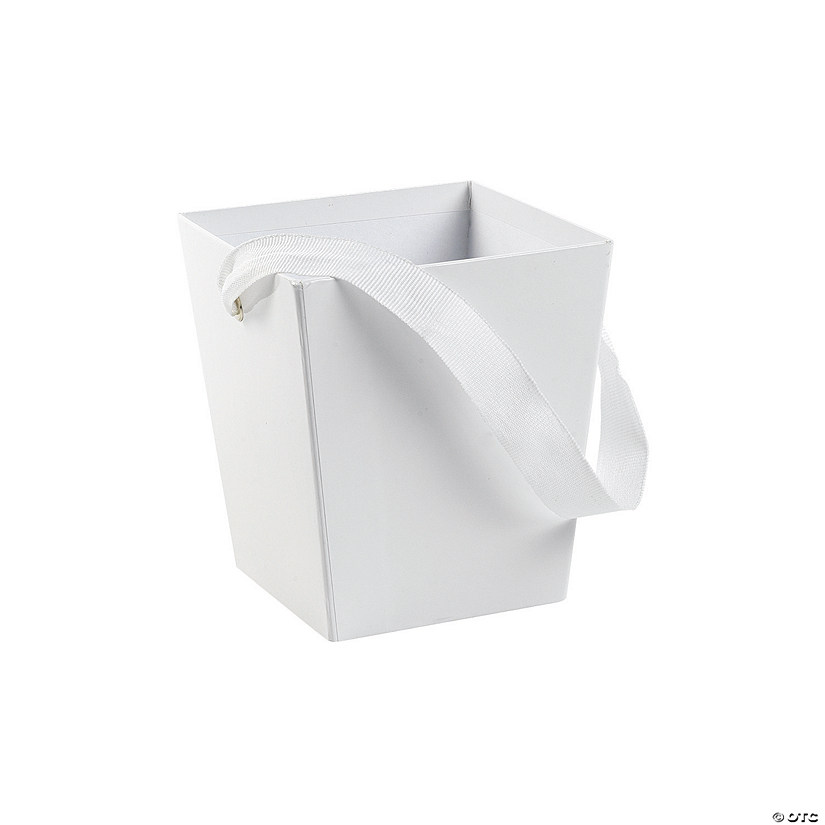White Candy Buckets with Ribbon Handle Image Thumbnail