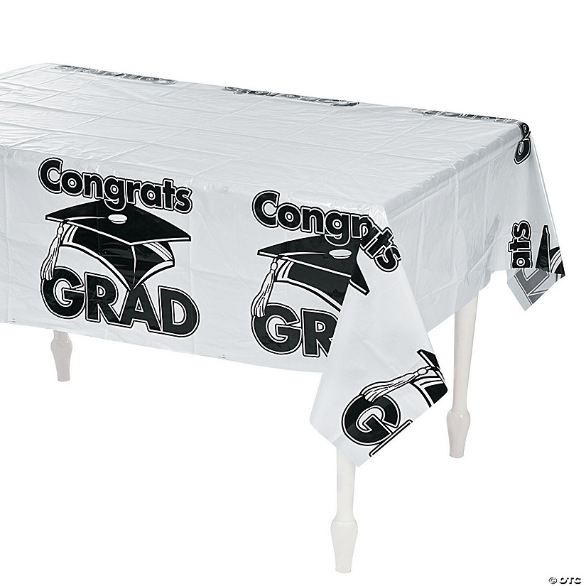 White Congrats Grad Plastic Tablecloth Audio Thumbnail