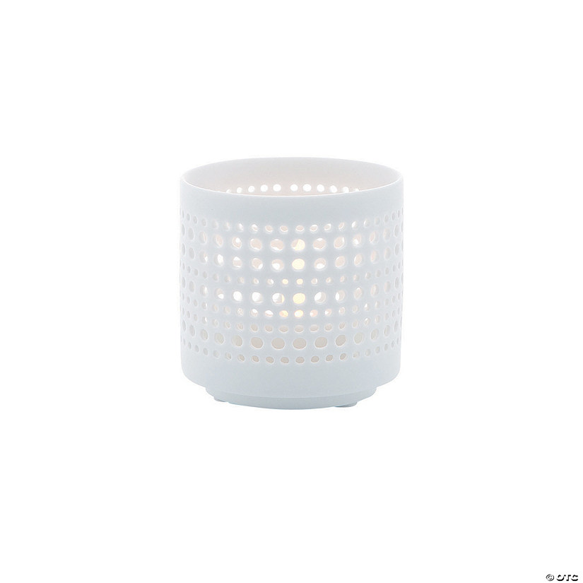 White Cutout Dots Candle Holders