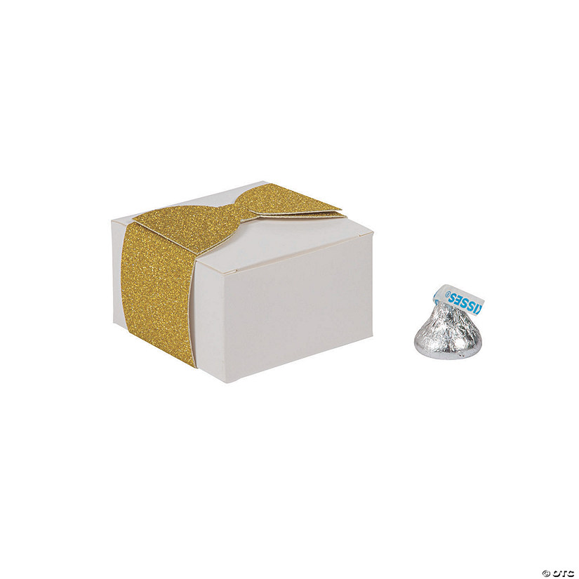 White Favor Boxes with a Glitter Bow Closure Audio Thumbnail