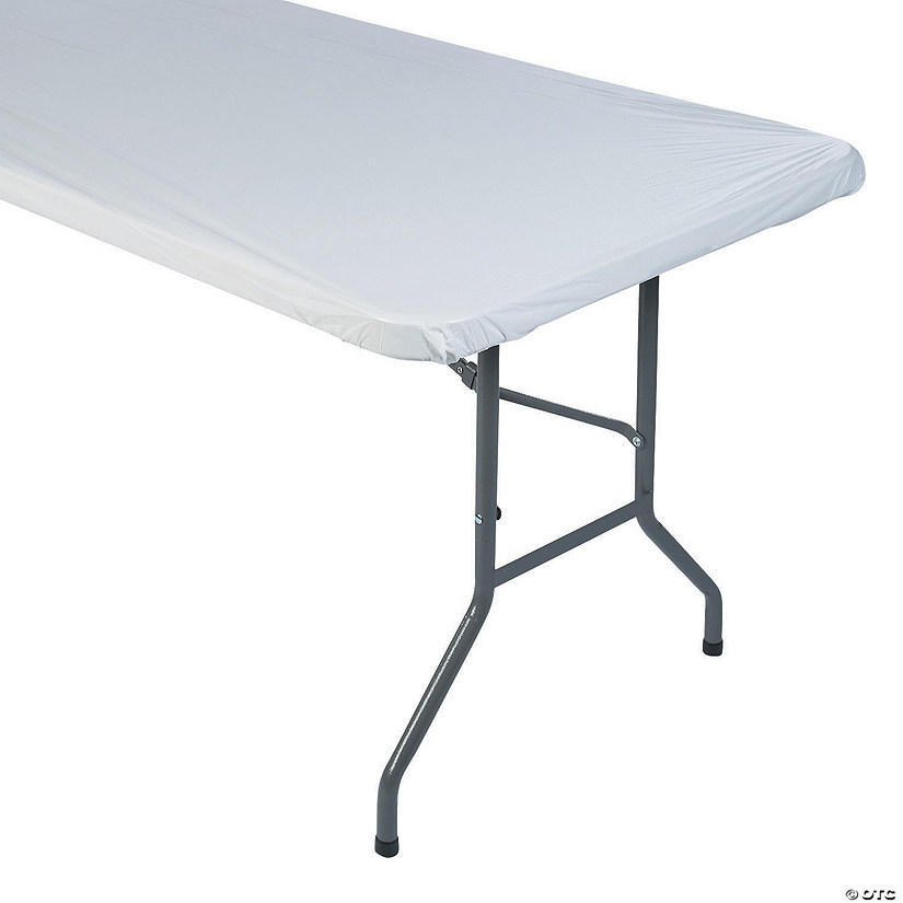 White Fitted Rectangle Plastic Tablecloth Audio Thumbnail